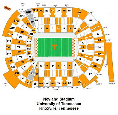 Neyland Stadium home of the Tennessee Volunteers in Knoxville, Tn